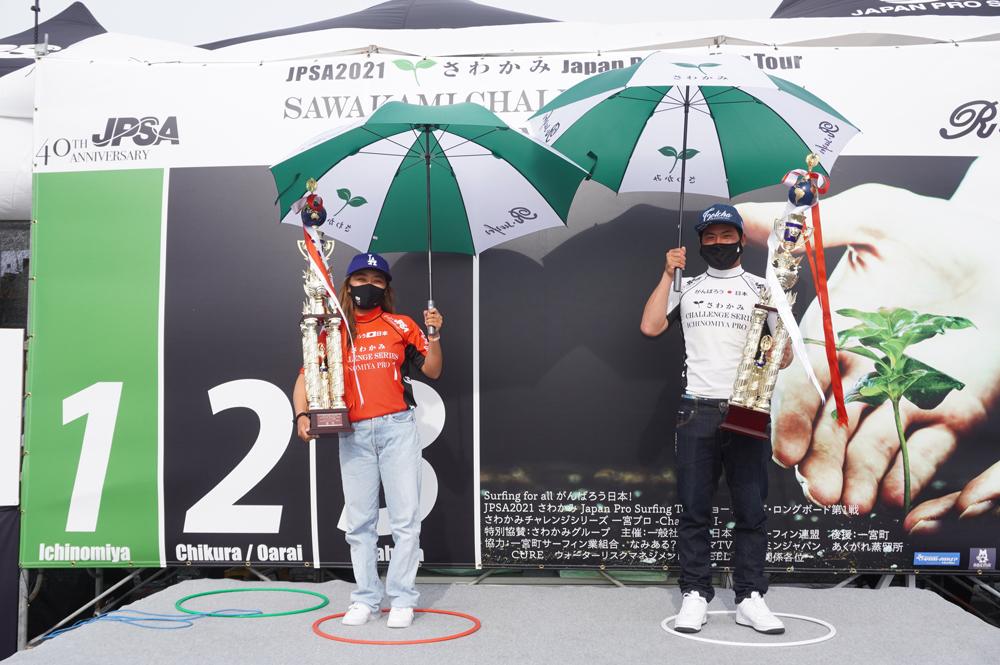 ショートボード第1戦一宮プロの優勝は、稲葉玲王と脇田紗良!